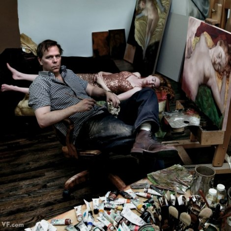 Currin pictured in his studio painting his wife for Vanity Fair